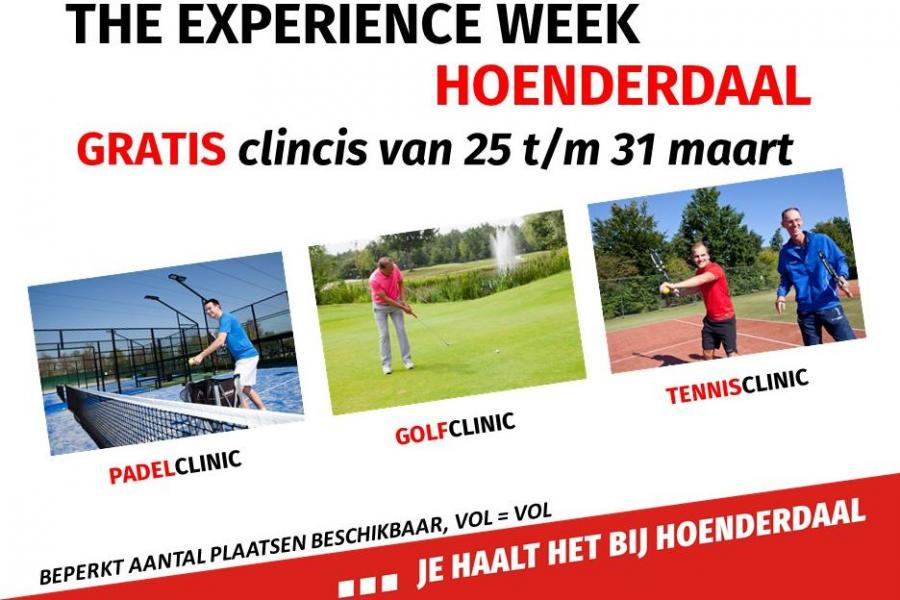 Experience Week: gratis clinics golf, padel & tennis