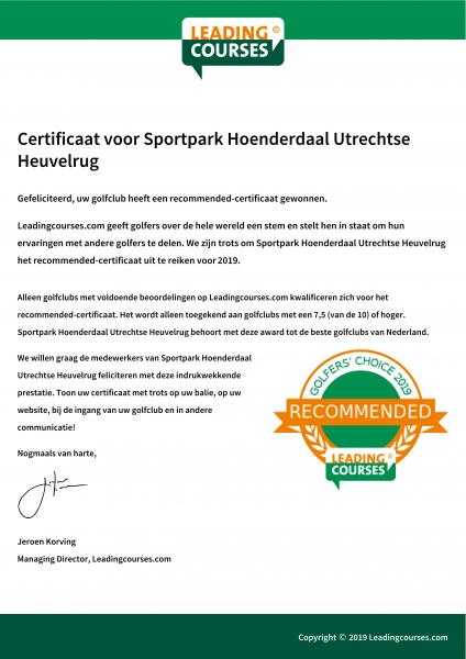 Hoenderdaal: Recommended by Leading Courses! Hoenderdaal Driebergen