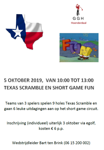 Funwedstrijd Texas Scramble/Shortgame 5 oktober 2019